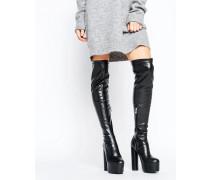 Truffle Overknee-Stiefel mit Plateausohle und rundem Absatz Schwarz