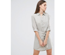 Hemdkleid mit Taillenschnürung Grün