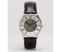 Exklusiv bei ASOS Schwarze Lederarmbanduhr mit sichtbarem, mechanischem Uhrwerk Schwarz