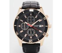 Chronograph-Armbanduhr mit Lederriemen in Krokolederoptik Schwarz