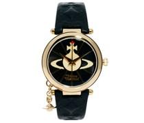 Uhr mit Lederarmband und Reichsapfelanhänger, VV006BKGD Schwarz