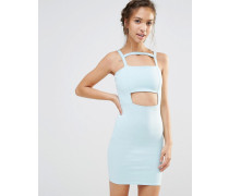 Figurbetontes Kleid mit Zierausschnitten Blau