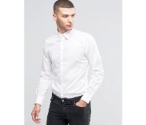 Schmal geschnittenes Stretchhemd Weiß