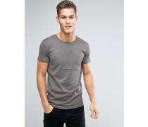 Braun meliertes T-Shirt Braun