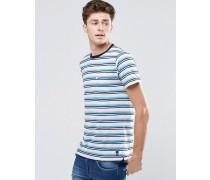 Gestreiftes T-Shirt mit Rundhalsausschnitt und Tasche Blau