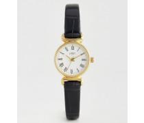 Schwarze Vintage Uhr mit Armband aus Krokodilleder 6210.37 (72 Schwarz