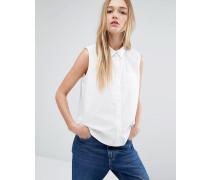 Ärmelloses schlichtes Hemd Weiß