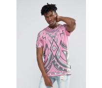 Langes T-Shirt mit Kaleidoskop-Print Rosa