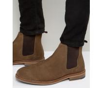 Chelsea-Stiefel aus hellbraunem Wildleder mit Natursohle Steingrau