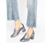 Emmaline Pewter Leder-Loafers mit Blockabsatz Silber