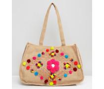 Jute-Strandtasche mit Bommeln Mehrfarbig