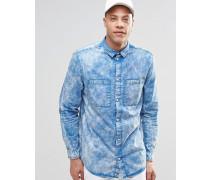 Average Blaues Hemd in Acid-Waschung Blau