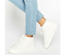 Hohe Sneakers in Schlangenleder-Optik Weiß