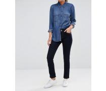 Jeans mit schmalem Bein in Rinse-Waschung und mittelhohem Bund Blau