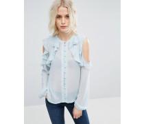 Kragenlose, gerüschte Bluse mit Schulteraussparung Blau