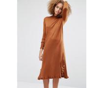 Pulloverkleid mit Rüschensaum Kupfer