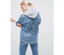 Girlfriend-Jacke in mittlerem Stonewash-Blau mit schwarzem Muster und grauer Kapuze Blau