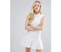 Closet Kleid mit Rollkragen, Falten und Schößchen Weiß