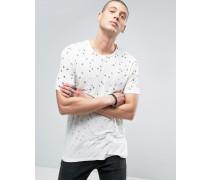 T-Shirt mit durchgehendem Federprint Weiß