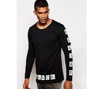 Lang geschnittenes, langärmliges Shirt mit bedruckten Ärmeln Schwarz