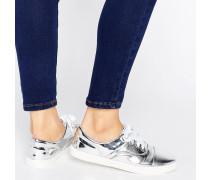 Tabby Silberne Leinenschuhe mit Zehenkappe Silber