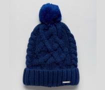 Pudelmütze aus Wollstrick Blau