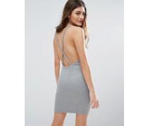 Minikleid mit Rippung und überkreuzter Rückseite Grau