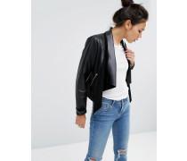 Jacke im Wasserfalldesign aus Leder Schwarz