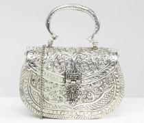 Tasche mit Metallgriff und optionalem Schulterriemen Silber