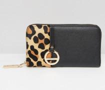 Geldbörse mit Leopardenprint Schwarz