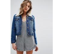 Jeansjacke mit Kragen aus Lammfellimitat Blau