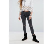 Eng geschnittene Jeans im Used-Look Grau