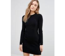 Pulloverkleid mit Zopfmuster Schwarz