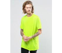 Lang geschnittenes, gelbes T-Shirt mit Rundhalsausschnitt in leuchtendem Gelb Gelb