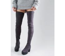 Truffle Klobige Overknee-Stiefel Grau
