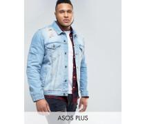 PLUS Jeansjacke in mittlerer Waschung mit Rissen Blau