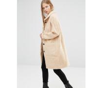 Langer Mantel mit Stehkragen in Camel Mehrfarbig