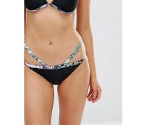 Bikinihose mit bedrucktem Saum Schwarz