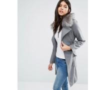 Lang geschnittener Mantel mit Gürtel und Kunstfellbesatz Grau