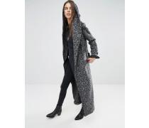Langer, drapierter Mantel mit Struktur und aufwendigem Muster Schwarz