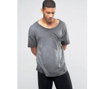 Langes Oversize-T-Shirt mit drapierter Tasche, U-Ausschnitt und Pigmentfärbung Grau