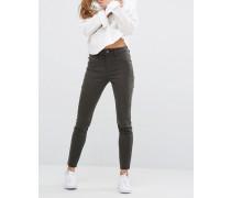 Jessica Alba X DL No.2 Hautenge, knöchellange Hose mit verdecktem Reißverschluss und ultrahohem Bund Grün
