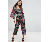 Gemusterter Satin-Overall mit Kimonoärmeln Mehrfarbig