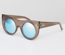 Sonnenbrille im Katzenaugen-Design mit reflektierenden Gläsern und dickem Rahmen Rosa