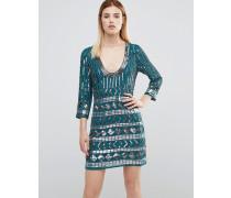 &ndah; All Over Heavily Verziertes Minikleid mit Rückenausschnitt Grün