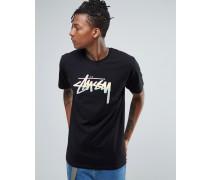 T-Shirt mit ausgeblichenem Logo Schwarz