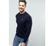 Marlow Pullover mit Zopfmuster in Marineblau Marineblau