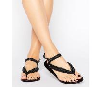 Flache Sandalen aus geflochtenem Leder Schwarz