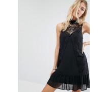 Hochgeschlossenes Kleid aus transparenter Spitze Schwarz