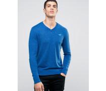 Hellblauer Strickpullover mit V-Ausschnitt Marineblau